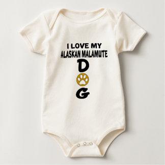 Body Para Bebê Eu amo meu design do cão do Malamute do Alasca