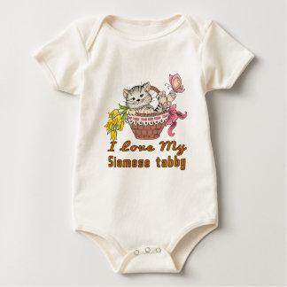 Body Para Bebê Eu amo meu gato malhado Siamese