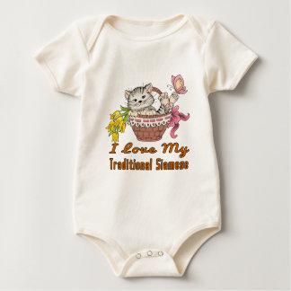 Body Para Bebê Eu amo meu Siamese tradicional