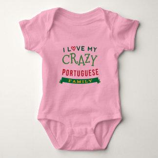 Body Para Bebê Eu amo meu t-shirt português louco da reunião de