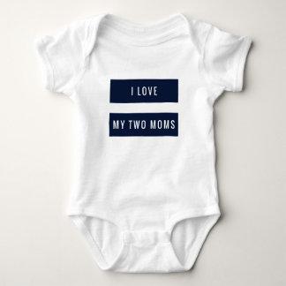 Body Para Bebê eu amo meus azuis marinhos de duas mães