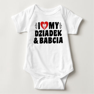 Body Para Bebê Eu amo meus Babcia & Dziadek