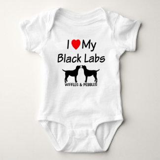 Body Para Bebê Eu amo meus DOIS laboratórios pretos