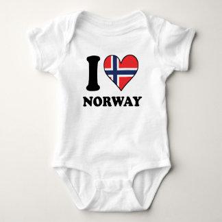 Body Para Bebê Eu amo o coração norueguês da bandeira de Noruega