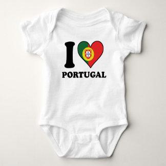 Body Para Bebê Eu amo o coração português da bandeira de Portugal