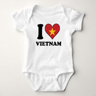 Body Para Bebê Eu amo o coração vietnamiano da bandeira de