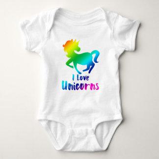 Body Para Bebê Eu amo o design do arco-íris dos unicórnios