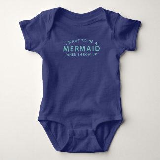 Body Para Bebê Eu quero ser um Bodysuit do bebê da sereia