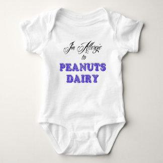 Body Para Bebê Eu sou alérgico aos AMENDOINS & à LEITERIA