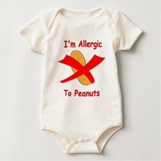 Body Para Bebê Eu sou alérgico aos amendoins para bebês