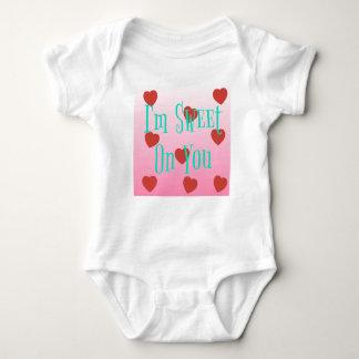 Body Para Bebê Eu sou doce em você corações feitos sob encomenda