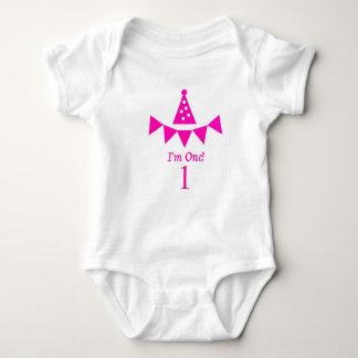 Body Para Bebê Eu sou um! Primeiro Bodysuit do aniversário