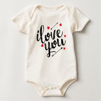 Body Para Bebê Eu te amo Bodysuit simples dos namorados |