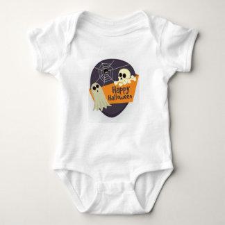Body Para Bebê Fantasmas felizes e Crossbones do Dia das Bruxas