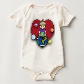 Body Para Bebê Fay de Sara que Meditating no globo com Elementals