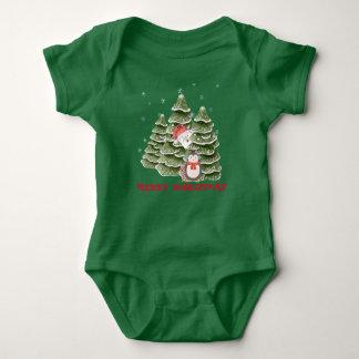 Body Para Bebê Feliz Natal com um pinguim e um urso polar