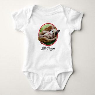 Body Para Bebê Filhote de cachorro bonito em uma luva de basebol