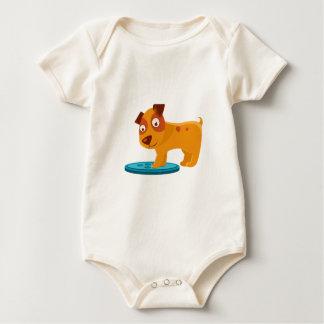 Body Para Bebê Filhote de cachorro curioso que pisa no Trapdoor