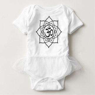 Body Para Bebê Flor de Lotus, preta com fundo branco