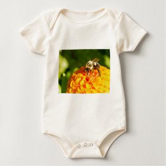 Body Para Bebê Flor do amarelo alaranjado da abelha do mel com