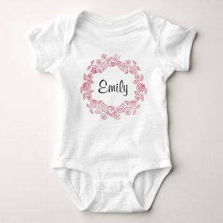 Body Para Bebê Floral do monograma personalizado