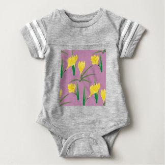 Body Para Bebê Flores amarelas do açafrão