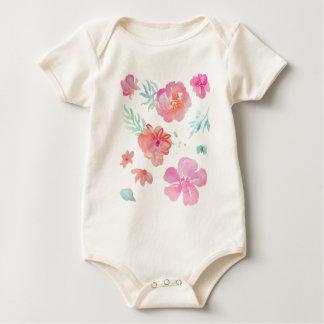 Body Para Bebê Flores cor-de-rosa românticas da aguarela