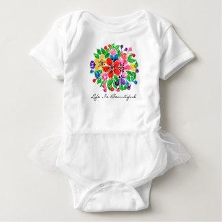Body Para Bebê Flores do arco-íris da aguarela