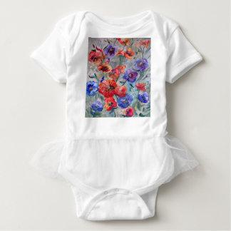 Body Para Bebê Flores no campo do verde