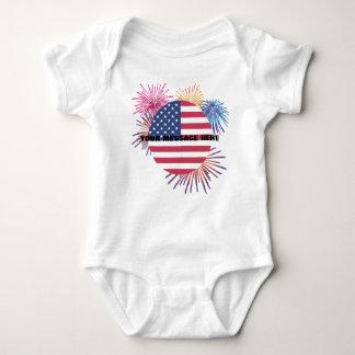 Body Para Bebê Fogos-de-artifício e a bandeira