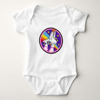 Body Para Bebê foguete do arco-íris do rosa do remendo do crachá