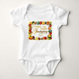 Body Para Bebê Folhas coloridas da acção de graças feliz do