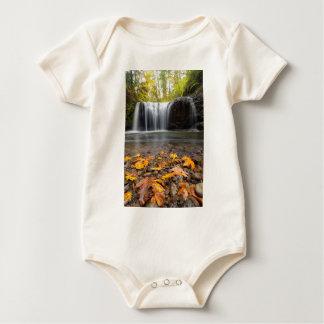 Body Para Bebê Folhas de bordo da queda na cachoeira escondida