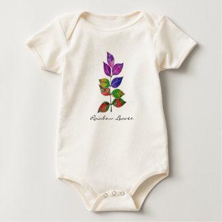 Body Para Bebê Folhas do arco-íris da aguarela