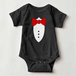Body Para Bebê Formal vista acima o laço vermelho