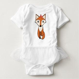 Body Para Bebê Fox bonito que veste um arco do cabelo