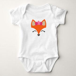 Body Para Bebê Fox com o T da coroa da flor para miúdos