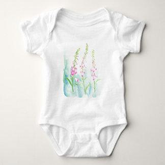 Body Para Bebê Foxgloves cor-de-rosa da aguarela