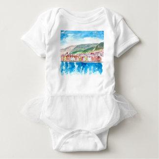 Body Para Bebê Frente marítima velha do porto de Bergen Noruega