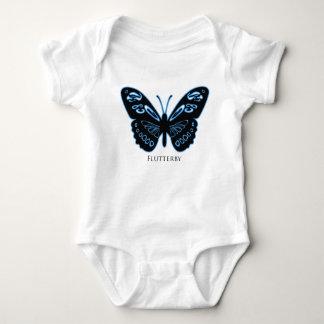 Body Para Bebê Fulgor azul preto de Flutterby