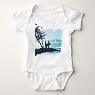 Body Para Bebê Fundo do surfista do verão da palma