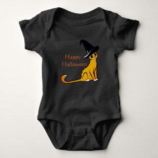 Body Para Bebê Gato alaranjado feliz da bruxa do Dia das Bruxas -