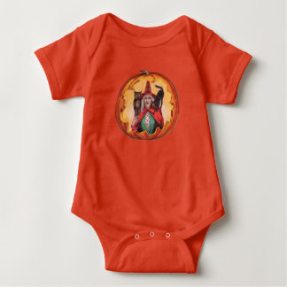 Body Para Bebê Gato preto de sorriso bonito da coruja da bruxa