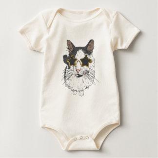 Body Para Bebê Gato que veste vidros da estrela