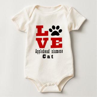 Body Para Bebê Gato siamese Designes de Applehead do amor