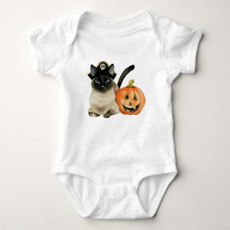 Body Para Bebê Gato Siamese do Dia das Bruxas com a lanterna de