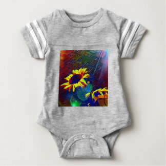 Body Para Bebê Girassóis artísticos vibrantes bonito