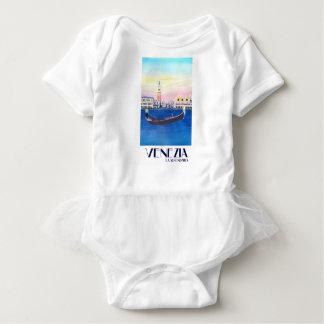 Body Para Bebê Gôndola de Veneza Italia no canal grande com San