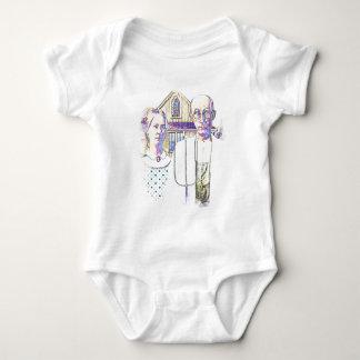 Body Para Bebê Gótico americano de néon com uma torção
