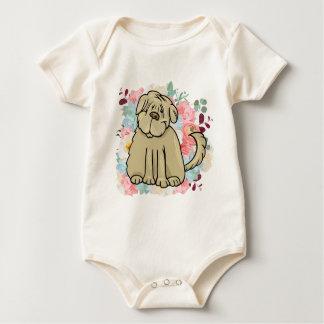 Body Para Bebê Grande cão macio com flores